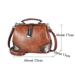 Hip Smart Leather Riveted Cross Body Shoulder Bag