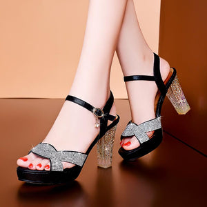 Open Toe High Chunky Heel Sandals Shoes Verkadi.com
