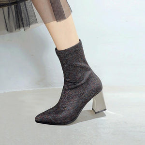 Leather Bling Pointed Toe High Heels Mid Calf Boots Verkadi.com