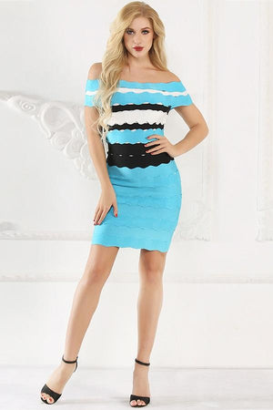 Bandage Striped Off Shoulder Slash Neck Bodycon Dress