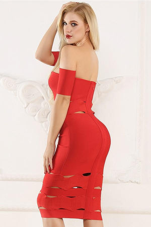Bandage Hollow Out Bodycon Pencil Midi Dress