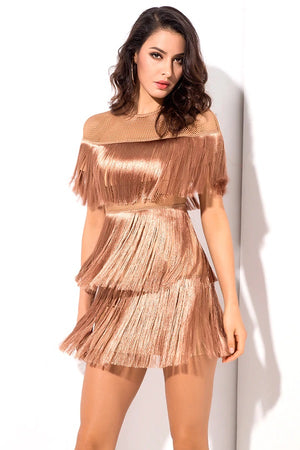 Slinky Round Neck Mesh Tassels Party Club Mini Dress
