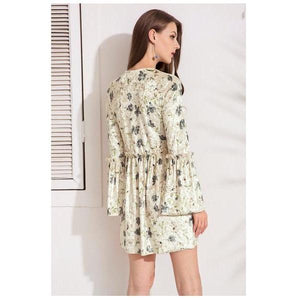 Velvet Leaf Print Lace Up A Line Short Dress Verkadi.com