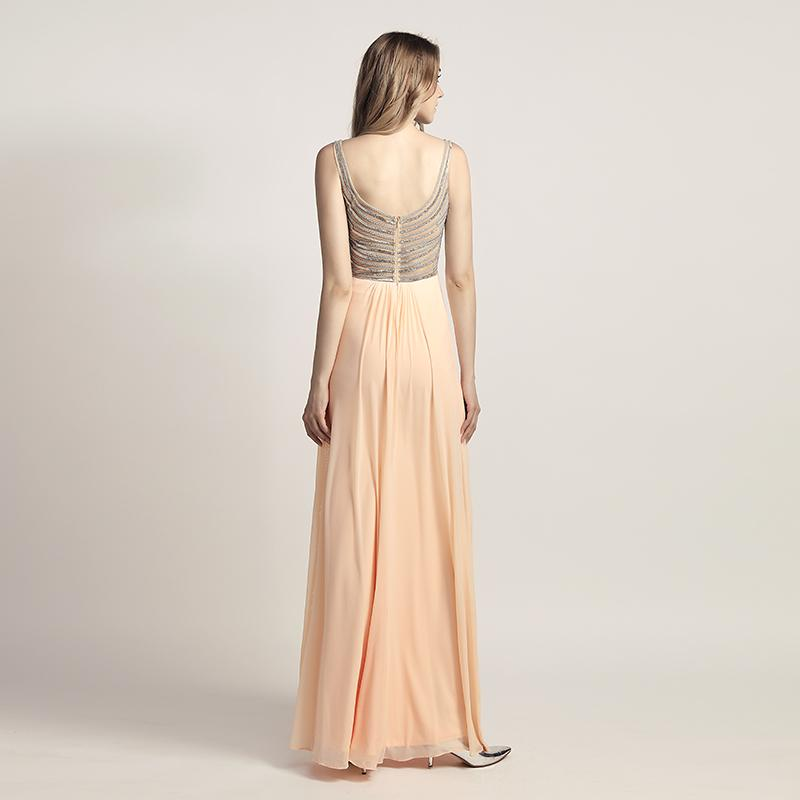 Trendy Pleated With Beading Back Long Chiffon Dress Verkadi.com