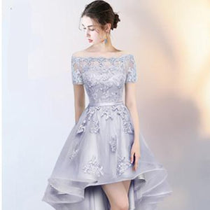 Sexy Boat Neck Short Sleeve Asymmetrical Prom Dress Verkadi.com
