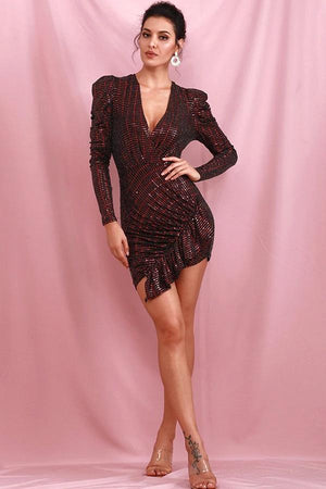 Deep Red Long Sleeve Ruffled Sequins Elastic Party Mini Dress
