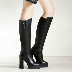 Genuine Leather Square High Heel Riveted Long Boots