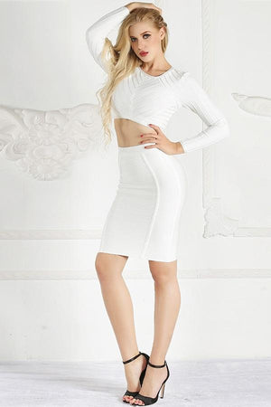 Crop Top And Skirt Bodycon Bandage Mini Dress