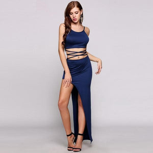 Cross Bandage Crop Top Wrap High Slit Two Pieces Dress Verkadi.com