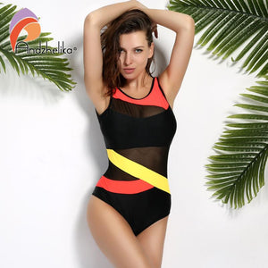 Solid Patchwork Stripe Soft Cup  Mesh Swimwear