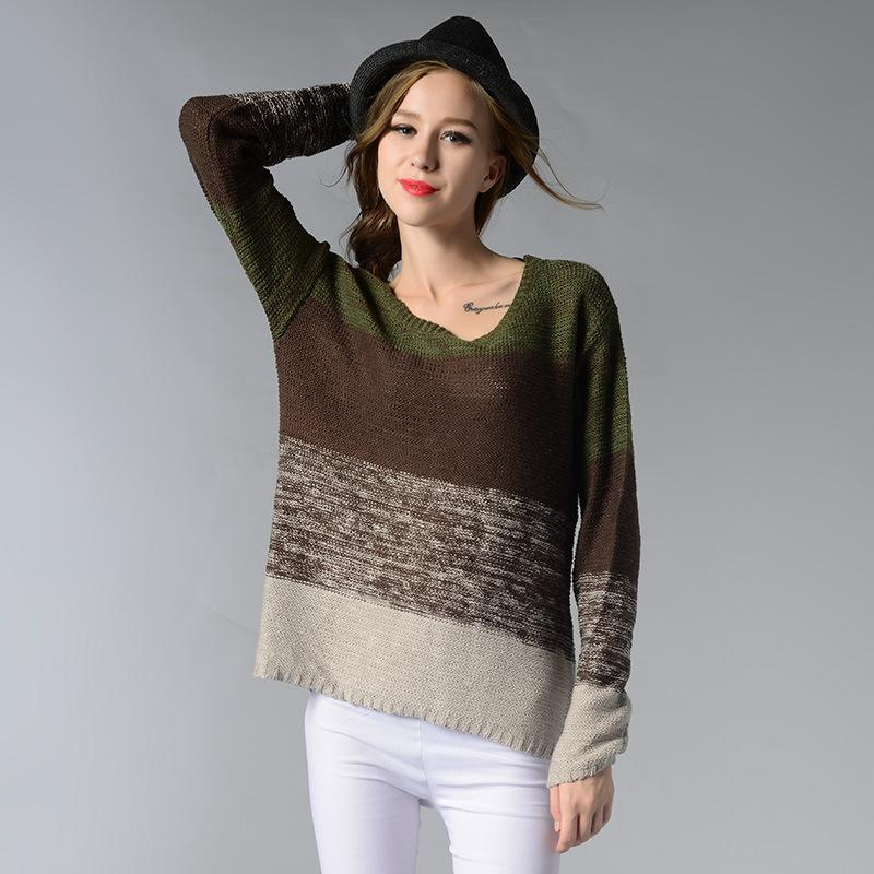 Elegant Gradient Long Sleeve O-Neck Knitted Pullover Verkadi.com