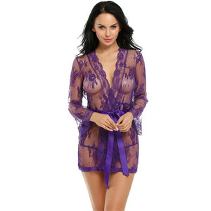 Sexy Robe Gown Lace Front Tie Flare Sleeve Lingerie Set Verkadi.com