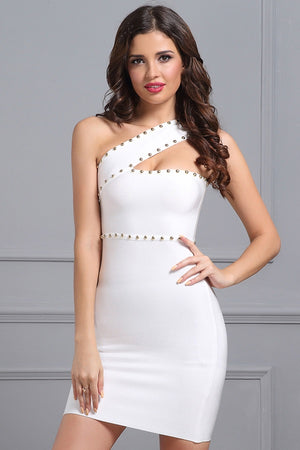 Bandage Sleeveless One Shoulder Beading Evening Mini Dress