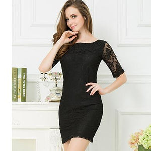 Elegant Backless Lace Bandage Bodycon Club Party Dress