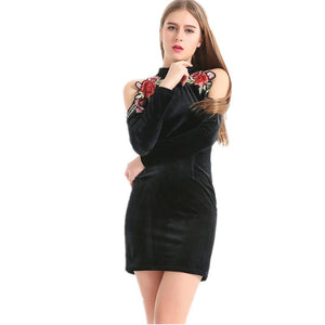 Off Shoulder Embroidery Long Sleeve Mini Velvet Dress Verkadi.com