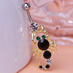 Scorpion Rhinestone Crystal Navel Piercing Belly Button Ring Verkadi.com