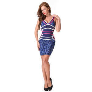 Leopard Spaghetti Strap V-neck Party Bodycon Dress Verkadi.com