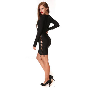 Sexy O-Neck Hollow Out Long Sleeve Bodycon Dress Verkadi.com