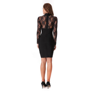 Hot Long Sleeves Hollow Out Lace Bodycon Evening Party Dress Verkadi.com