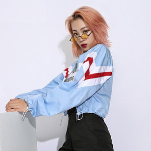 Sexy Short Cropped Street Wear Blue Bomber Jacket Sweatshirt Verkadi.com