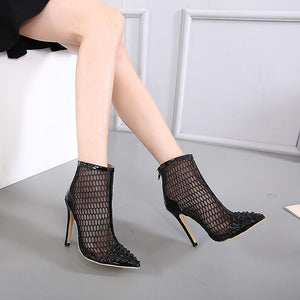 Pointed Toe Net Pu Leather Thin Heels Pumps Shoes Verkadi.com