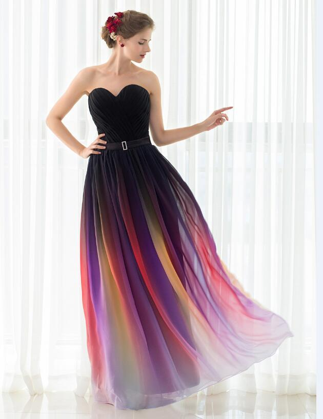 Colorful Sexy Chiffon Strapless Pleated Evening Event Dress