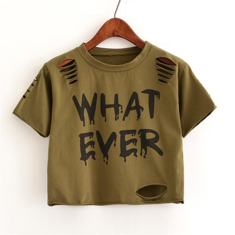 Hot Street Wear Letter Print Hole Short Sleeves T-Shirt Top