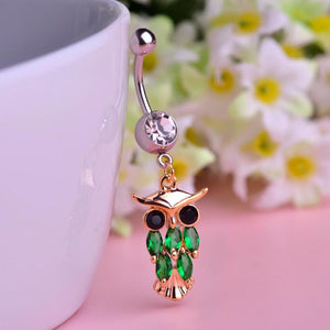 Cute Owl Crystal Dangle Navel Piercing Belly Button Ring