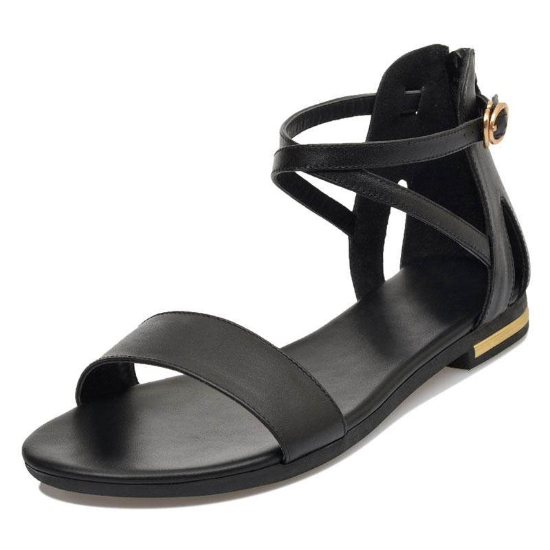 Sweet Solid Cross-Tied Strap Sandals Verkadi.com