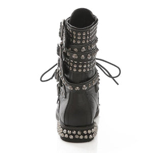 Cool Motorcycle Ankle Buckle Strap Rivet Boots Verkadi.com
