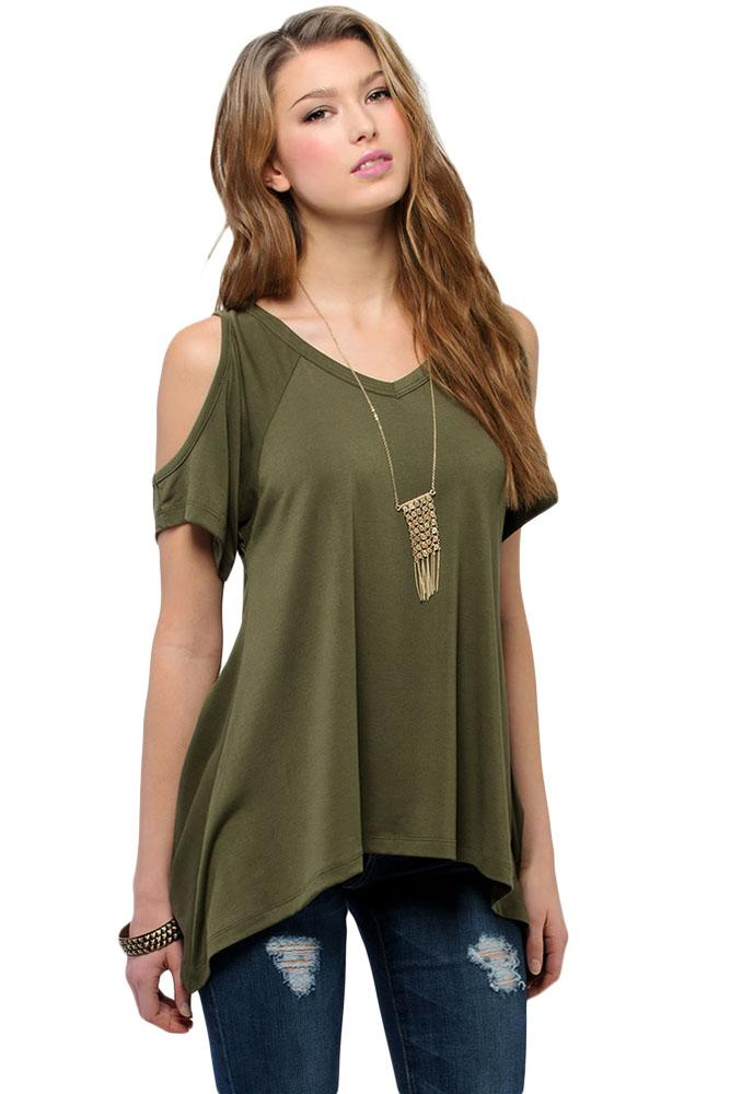 0a6be5bc2198f0 ... Army Green V Neck Cold Shoulder Swing Top Loose Top Verkadi.com ...