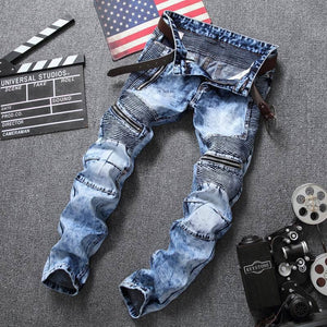 Smart Hip Hop Slim Fit Distressed Stretch Ripped Men's Jeans
