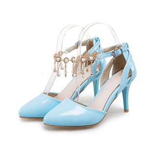 Pointed Toe Spike High Heels Ankle Strap Sandals Verkadi.com
