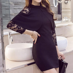 Elegant Black Empire Lace One-Piece Evening Party Dress
