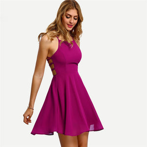 Sexy A-line Lace up Halter Spaghetti Strap Sleeveless Dress Verkadi.com