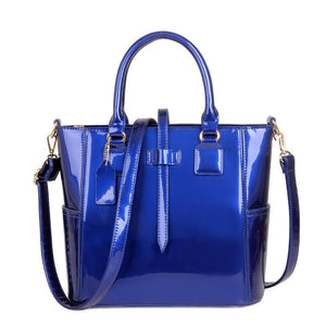 Patent Lacquered Leather Tote Shoulder Composite Bag (3 Pieces) Verkadi.com