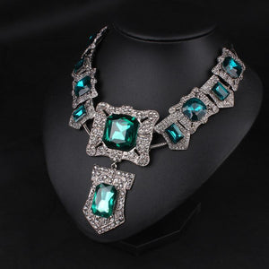 Square Green Crystal Rhinestone Necklace