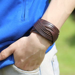 New Wide Leather Unisex Cuff Wrap Punk Vintage Bracelet