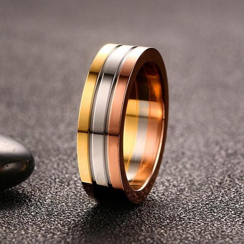 Unisex Titanium Steel Gold Rose Plated Ring Verkadi.com