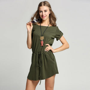 Style Army Green Sexy Short Sleeve Dress Verkadi.com