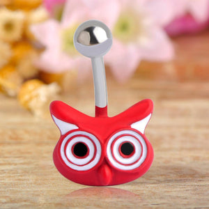 Red Enamel Fox Navel Piercing Belly Button Ring Verkadi.com
