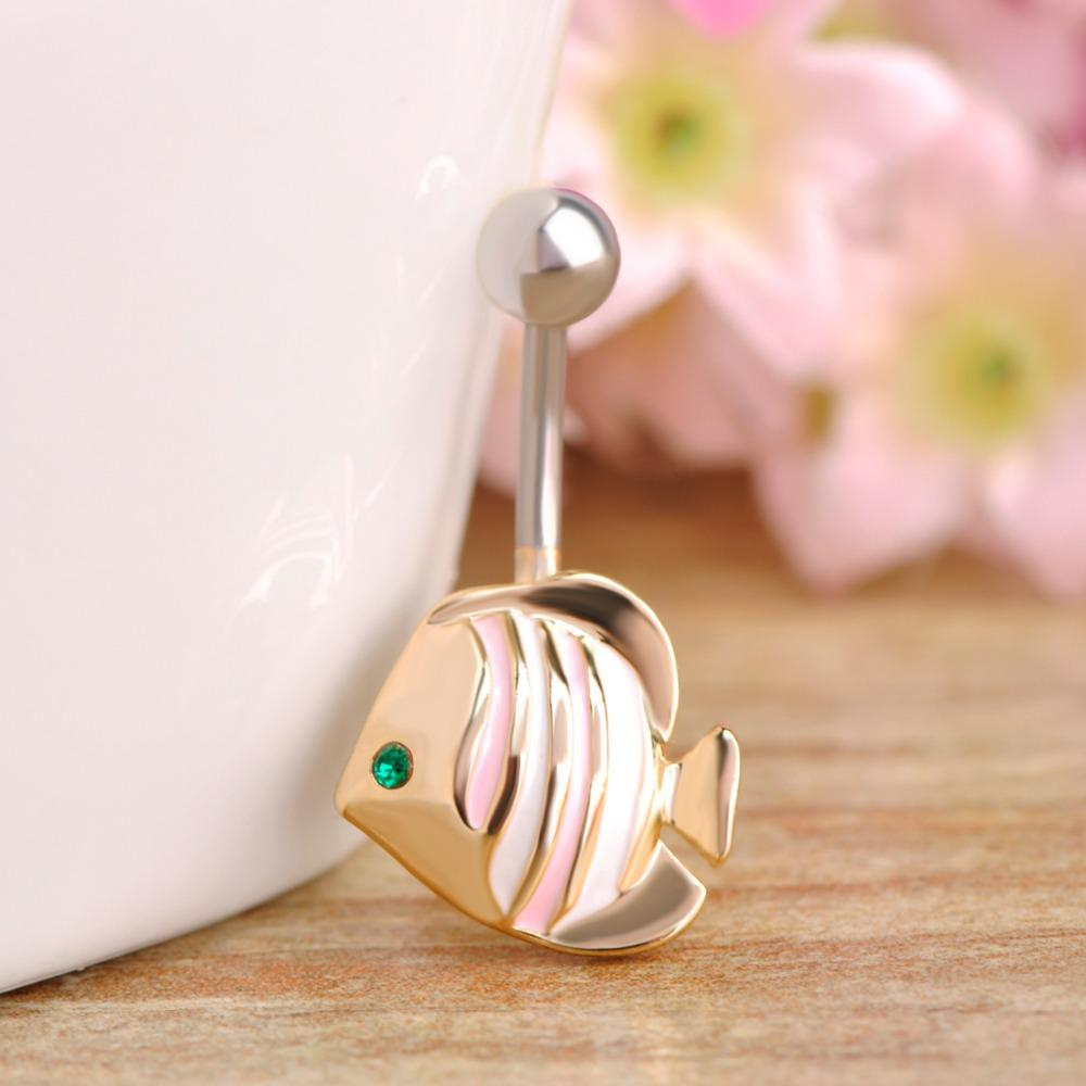 Small Fish Character Navel Piercing Belly Button Ring