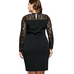 Sexy Lace Insert Asymmetric Long Sleeve Knee Length Bodycon Dress Verkadi.com