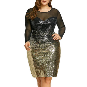 Mesh Insert Sequins Bodycon Long Sleeve Midi Party Club Dress Verkadi.com
