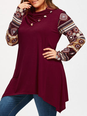Heaps Collar Long Sleeve Shark Bite Casual Loose Top Blouse Verkadi.com
