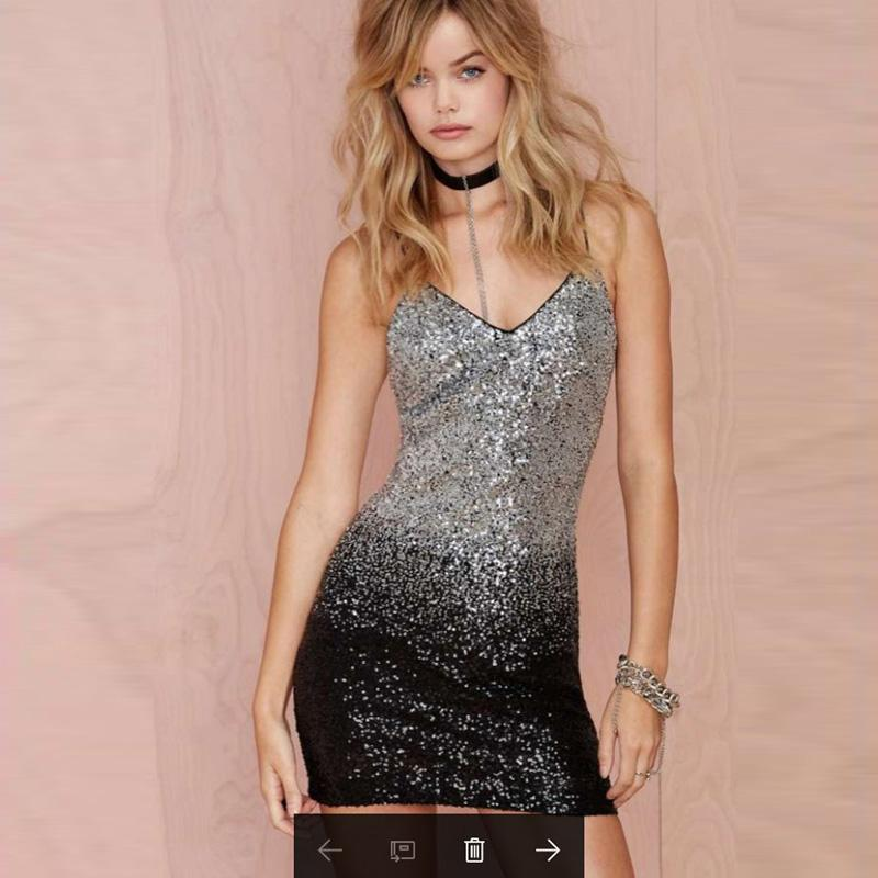 Gradient Black Silver Sequin Backless Club Dress Verkadi.com
