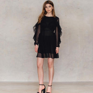 Solid Black Mesh Sheer Ruffles Lace-up Mini Dress