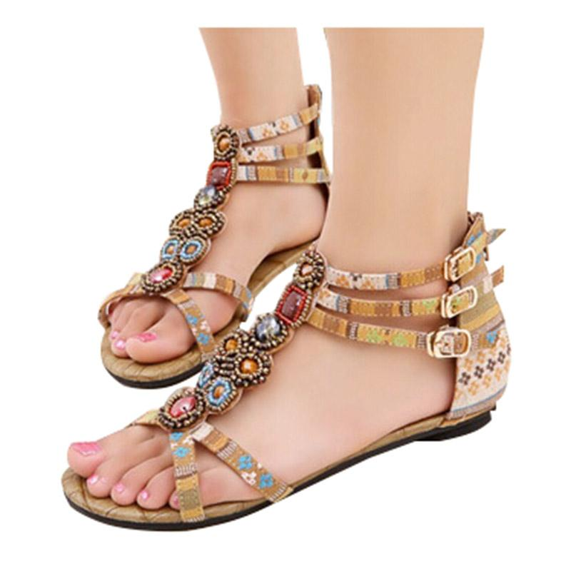 Ethnic Styled Beading Printed Sandals