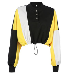 Hip Patchwork Crop Long Sleeve Street Wear Hoodie Sweatshirt Verkadi.com