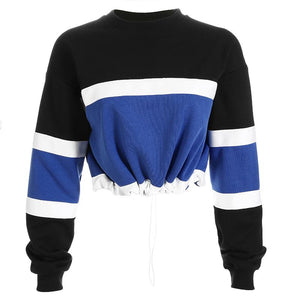 Hip Street Smart Patchwork Cropped Hoodie Sweatshirt Verkadi.com